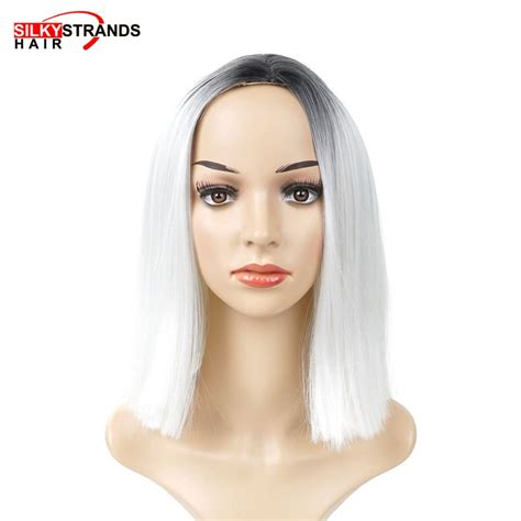 Short Black And White Bob Wigs Straight Colored Hollween