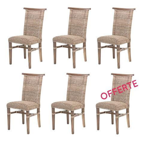 chaise à manger lot de 6 chaises de salle à manger en rotin chaise en