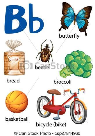 things that start with the letter a things that start with the letter b on a white background 41901