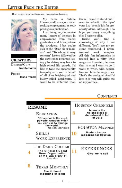 Cover Letter For Magazine by Hired Magazine By Natalie Harms A Portfolio And Cover
