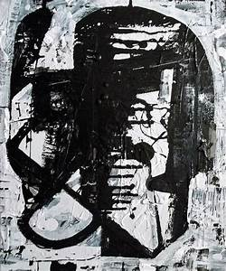 Abstract Modern Black and White Canvas Painting by Elston ...