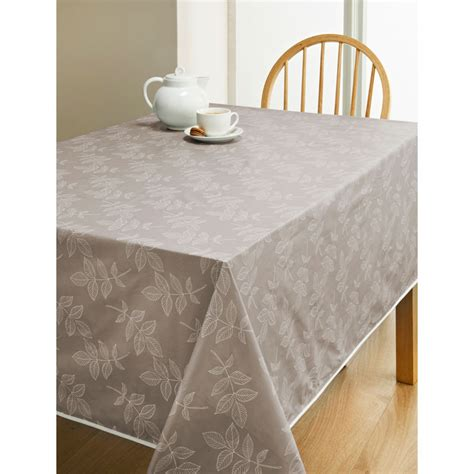 wipe clean table cloth pvc wipe clean tablecloth taupe leaf kitchen b m