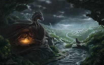Dragon Wolf Fantasy River Computer Px Desktop