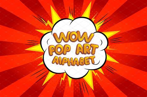 wow pop art comic alphabet serif fonts creative market