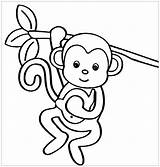 Coloring Monkeys Children Monkey Printable Funny Simple Colouring Sheet Adult Justcolor sketch template