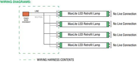 maxlite g13kit2 1409027 two 2 socket t8 wiring harness non shunted g13 lholder for led