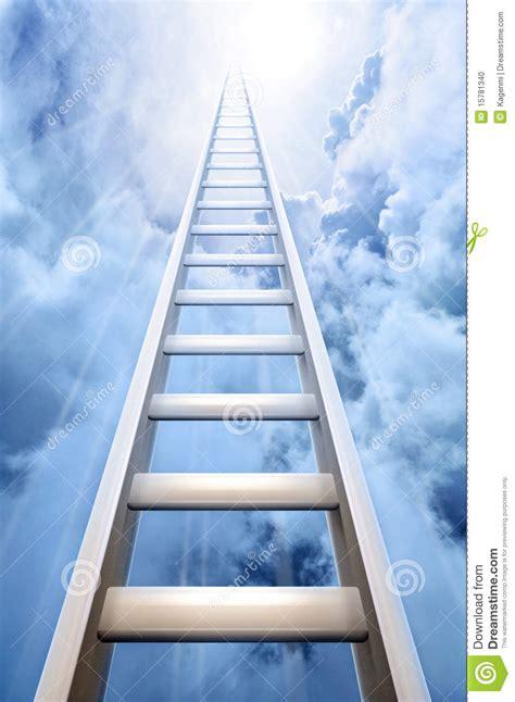 ladder  sky symbolizing success stock photo image