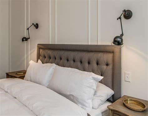 swing arm sconces bedroom charcoal gray linen headboard bedroom