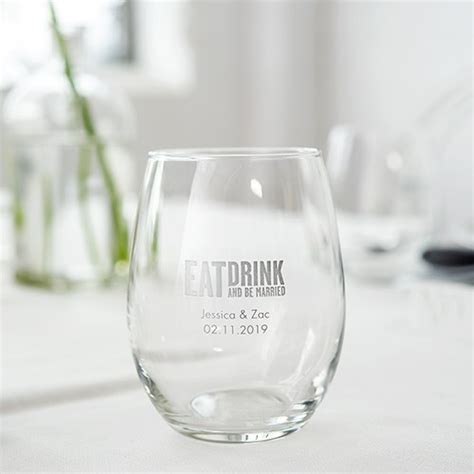 Personalized Stemless Wine Glass Favor   9 Ounces   The Knot Shop