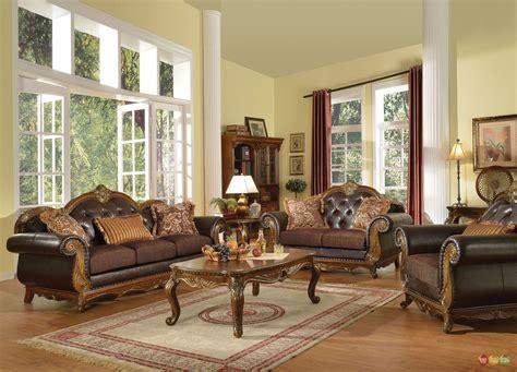 dorothea traditional formal living room sofa set  wood