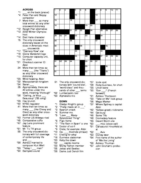 free printable crossword puzzles for adults printable