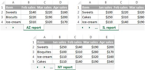 consolidate  excel merge multiple sheets