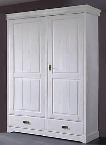 Schrank Weiß Holz : kleiderschrank 132x217x62cm 2 holzt ren 2 schubladen kiefer massiv wei gewachst ~ Indierocktalk.com Haus und Dekorationen
