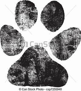 Vector Clip Art de huella, Perros aislado, negro, Perros, huella, en, el, csp7255940