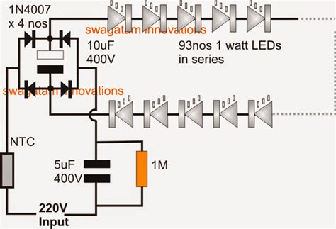 simplest 100 watt led bulb circuit electronic circuit