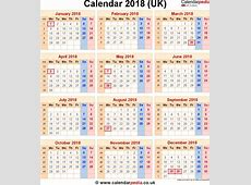 2018 Calendar Uk 2018 calendar with holidays