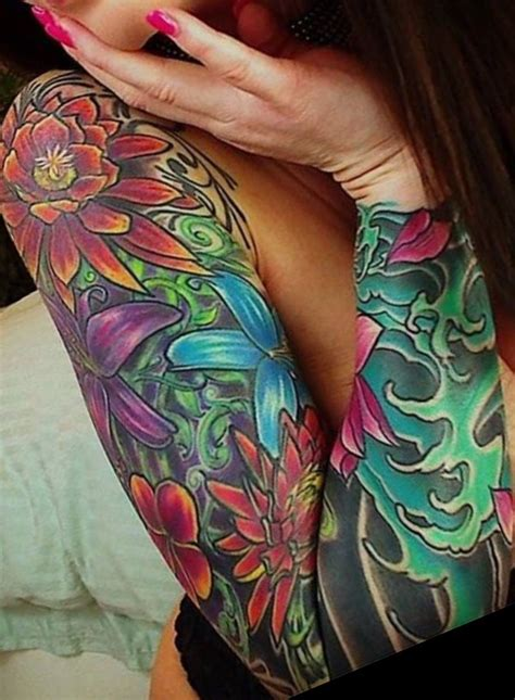 colorful sleeve tattoo flower tattoo ideas sleeve