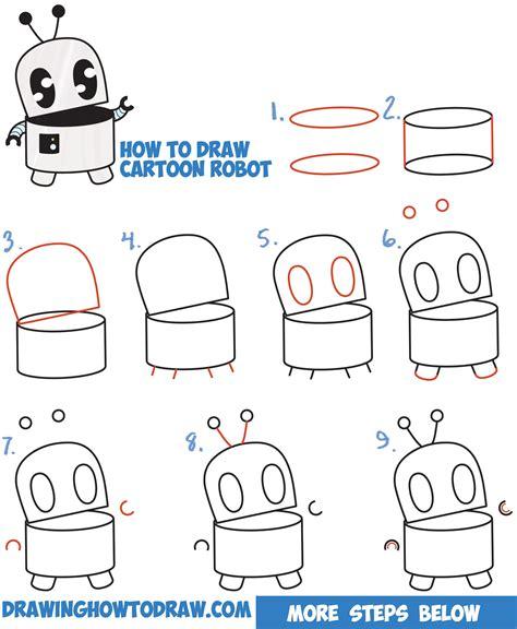 draw  cute cartoon robot easy step  step drawing