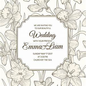 wedding invitation card daffodil narcissus flowers stock With wedding invitation rsvp time frame