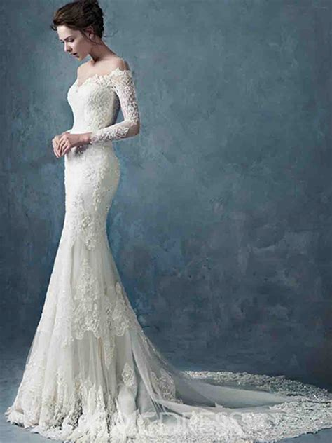 ericdress jewel long sleeves mermaid wedding dress