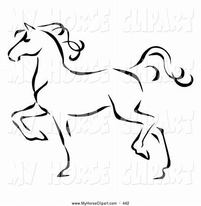 Horse Clipart Clip Line Walking Profile Trotting