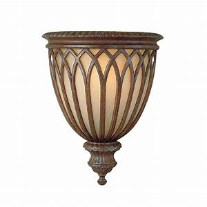 Gothic wall sconce in decorative bronze cage design over for Bronze wall sconce