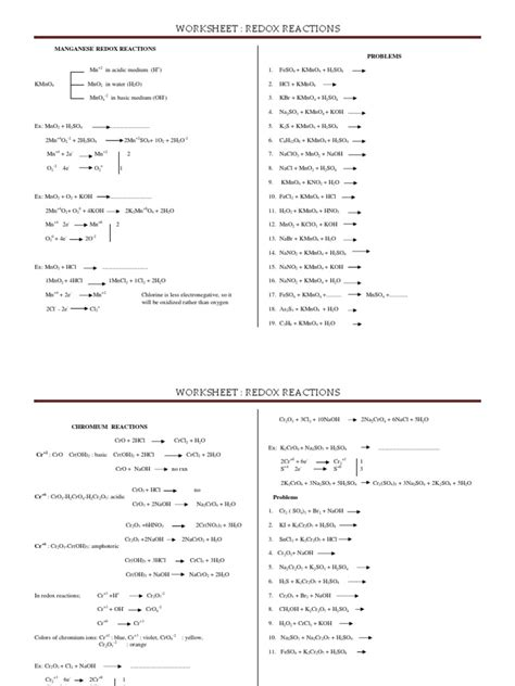 4worksheet Redox Reactions 89  Redox  Chemical Compounds