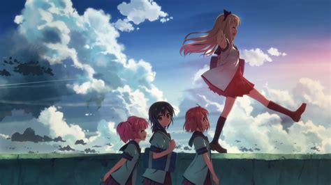 anime girls anime sky school uniform clouds yuru yuri