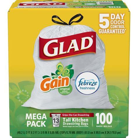 kitchen trash bags shop glad drawstring 100 count 13 gallon gain white