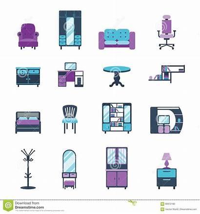 Symbols Living Furniture Icons Apartment Modern Furnished