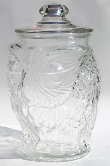 vintage wise  owl libbey clear glass gallon canister