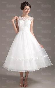 Cheap ball gown princess beach tea length wedding dress for Cheap tea length wedding dresses