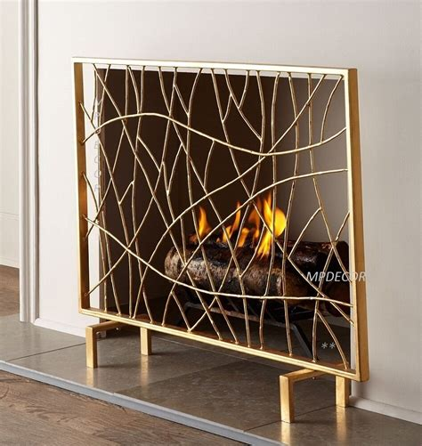 golden twig fireplace fire screen panel modern