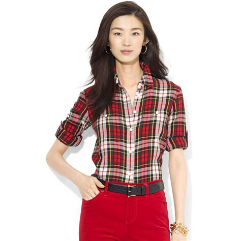 by ralph plaid roll sleeve shirt in multi lyst