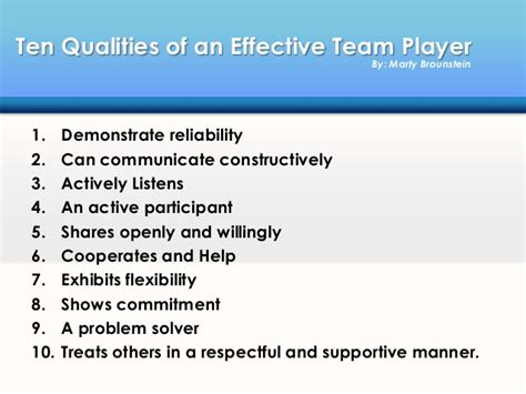Team Player Attributes Resume by How To Be An Effective Team Player