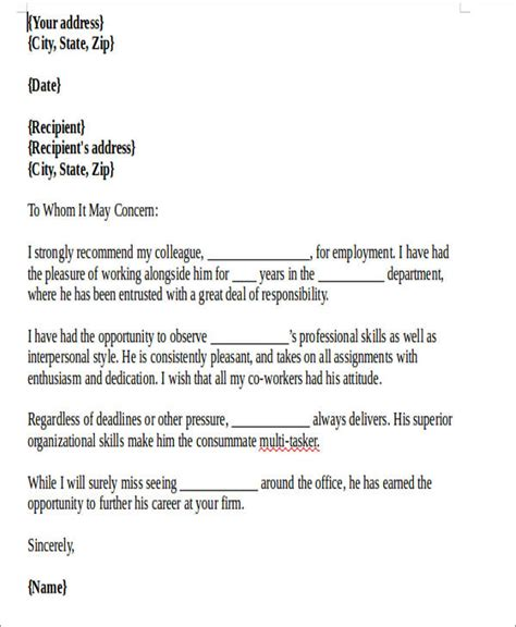 Letter Of Recommendation Sle For Former Employee The Letter Of Recommendation For Coworker Teacheng Us