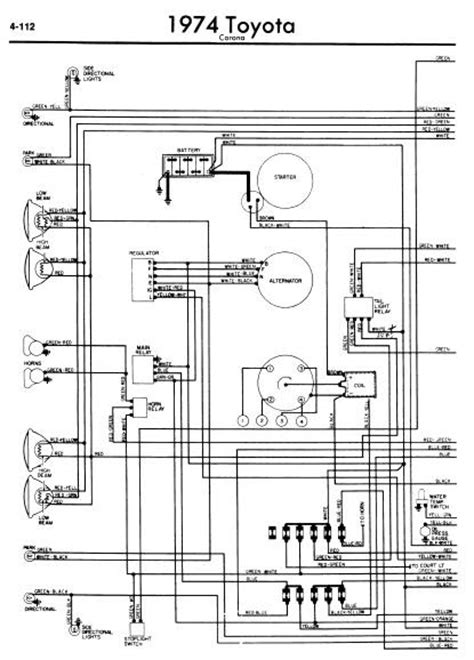 toyota corona 1974 wiring diagrams manual