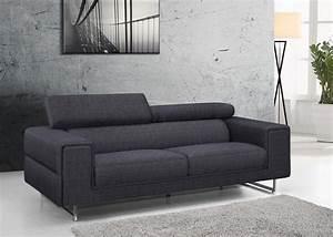 Canape design gris chablis en tissu fixe 3 places avec for Nettoyage tapis avec canape tv