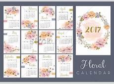 2017 floral calendar set Vector Image 1940323