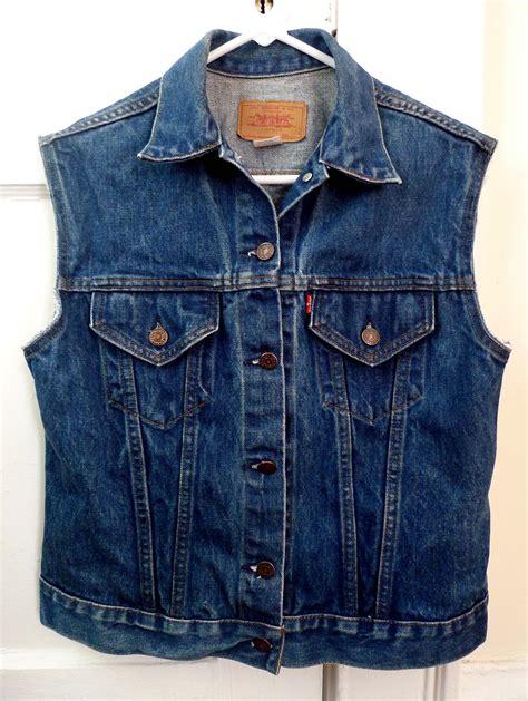 denim vest vintage levi 39 s tag indigo blue cut denim trucker