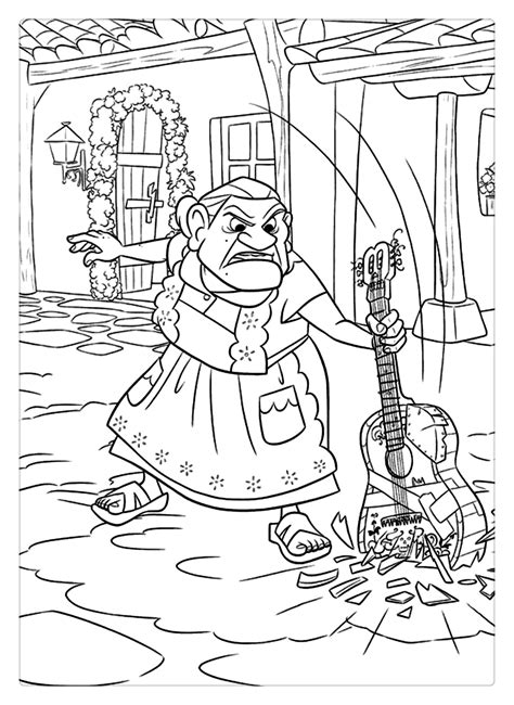coco coloring pages grandma  guitar  printable coloring pages