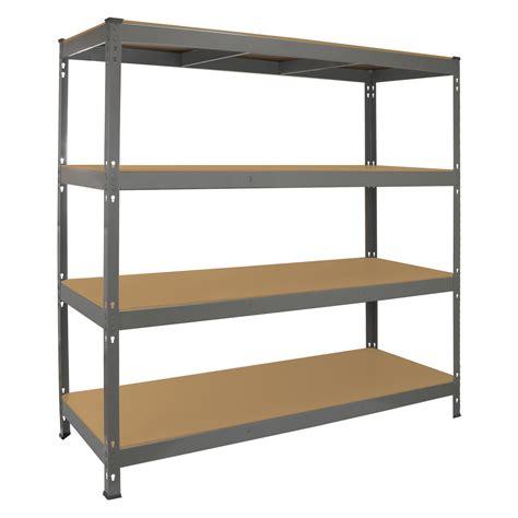 Metal Storage Shelves by Garage Racking Heavy Duty Shelving 4 Tier Unit Boltless