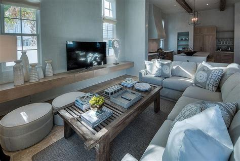 light gray linen plush sectional facing  floating tv