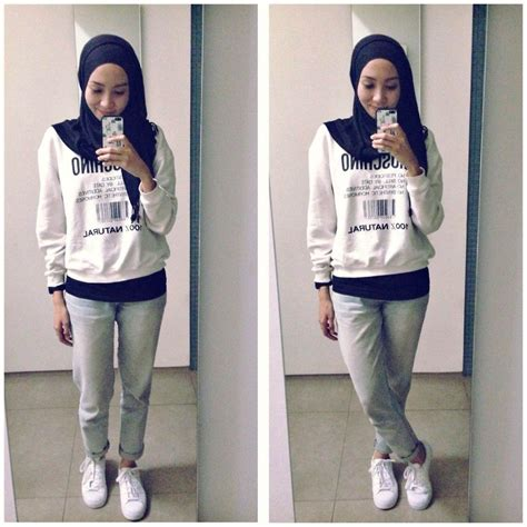 ootd casual hijab outtfit adidas sneakers moschino