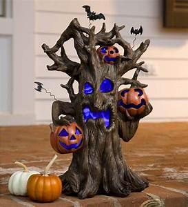 Lighted, Spooky, Tree, Halloween, Decoration