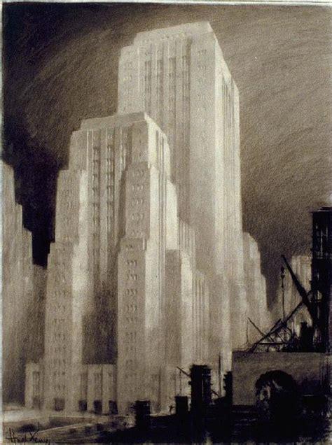 architectural drawings  futuristic buildings  hugh ferriss