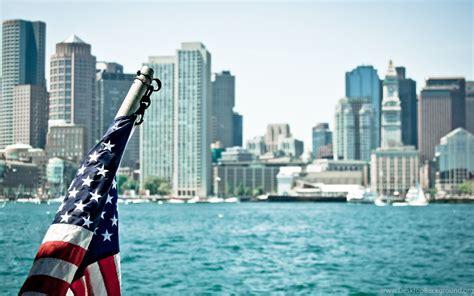 american flag usa city buildings atlantic ocean hd