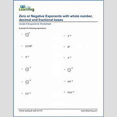 Grade 6 Math Worksheet Zero Or Negative Exponents With Whole Number, Decimal And Fractional