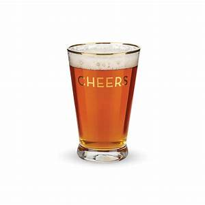 Rustic Farmhouse Gold Rimmed Cheers Pint Glass Set by ...  Cheers