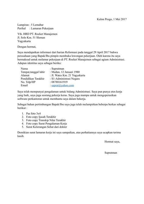format surat lamaran pekerjaan yang baik contoh
